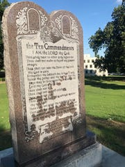 A 6-foot-tall privately funded Ten Commandments monument