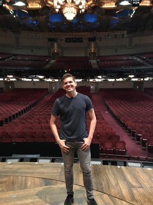 "Alex Larson, a St. George native who has joined the Broadway touring cast of ""Hamilton,"" poses Tuesday on the Pantages Theatre stage in Hollywood."