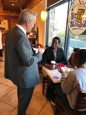 Desert Sands Unified School District Superintendent Scott Bailey chats with community members during a recent Bailey & Coffee event.