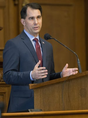 Gov. Scott Walker, shown here in a 2017 budget address, spoke of the importance of youth apprenticeships during a visit to Kimberly High School on Friday.