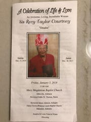 Funeral program for Recy Taylor