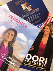 A sample of the campaign material sent out to voters by three of the candidates running to fill the  vacated seat for the 16th Congressional District seat left by Beto O'Rourke.