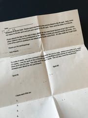 Example of a book exchange chain letter, which could