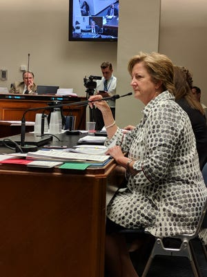Sen. Sharon Hewitt, R-Slidell, responds to questions at a Senate hearing on her bill that would fortify sexual harassment policies across the state.