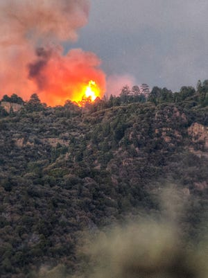 The West Valley Fire burns on Pine Valley Mountain on Wednesday, June 27, 2018. Three days later, it is still burning out of control.