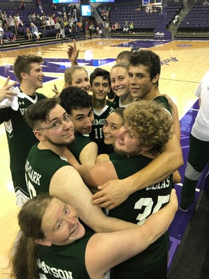 Team Vermont celebrates its interscholastic unified basketball national championship at the 2018 Special Olympics USA Games. Vermont went undefeated to claim the Division I gold medal on Thursday morning.