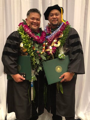 Paul J.S. Rabago (left) and Michael J.S. Rabago (right) completed their Doctorates Degree in Teaching and Learning from Argosy University, Hawaii. A graduation ceremony was held at Sheraton Laguna Guam Resort on August 4, 2018. A proud moment and a big congratulation to them both from our familia.