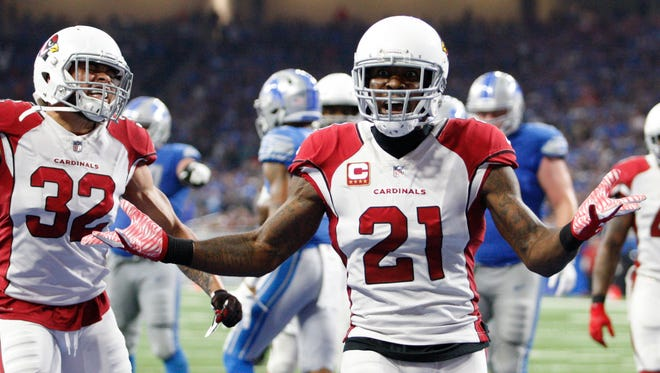Sep 10, 2017; Detroit, MI, USA; Arizona Cardinals cornerback Patrick Peterson (21) yells out at side judge Alex Kemp (not pictured) during the fourth quarter against the Detroit Lions at Ford Field. Mandatory Credit: Raj Mehta-USA TODAY Sports