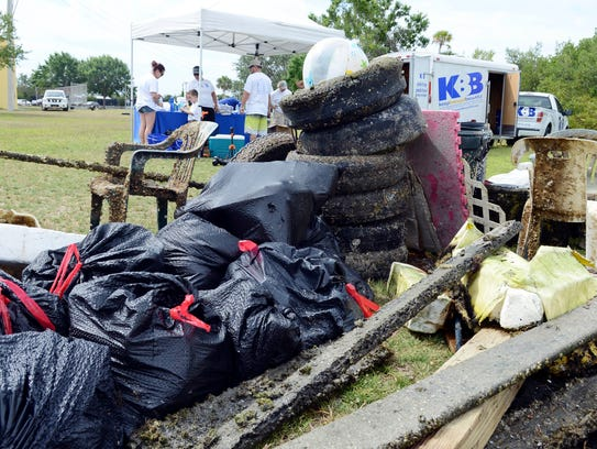 A mound of trash gathered by volunteers during the May 2017 Keep Brevard Beautiful-FLORIDA TODAY Summer Series Cleanup event at Kiwanis Island Park on Merritt Island