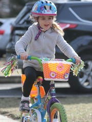 Lucia Vanacore, 6, of Rutherford was riding her bike