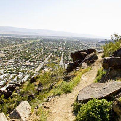 This Desert Sun file photo shows the South Lykken Trail in Palm Springs. Two hikers were rescued from the trail Monday and one later died, according to police.
