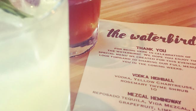 Craft cocktails at The Waterbird: a Mezcal Hemingway and a Chicory Old Fashioned.