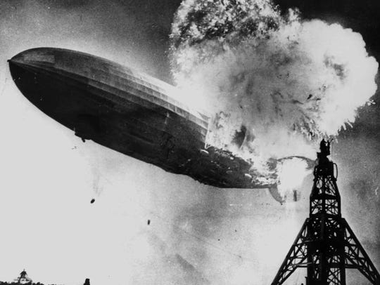 "The Hindenburg disaster, part of the exhibition ""Zeppelin."