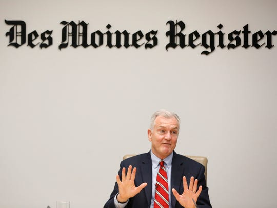 John Norris, Democratic candidate for governor, talks with the Register editorial board Thursday, May 17, 2018, in Des Moines.