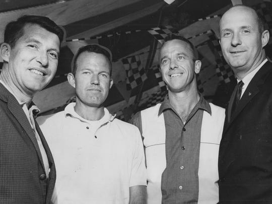 L to R: Astronauts Wally Schirra, Gordon Cooper, Alan Shepard and Thomas Stafford attend the Firestone party at the Indianapolis Motor Speedway, May 29, 1964.