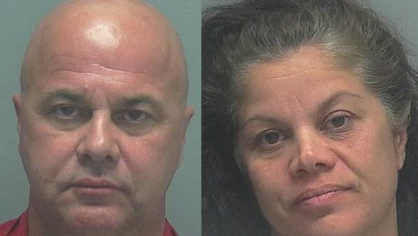 Mugshots of Hector Crespo (left) and Laura Crespo (right), the brother and sister pair who were arrested on robbery charges after Lee County sheriff's deputies say they caught the siblings robbing a Mexican restaurant.