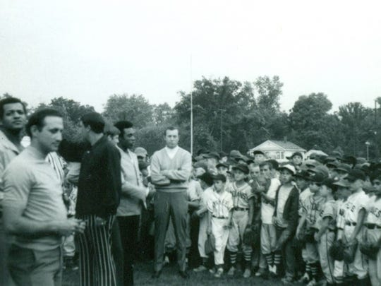 The Detroit Tigers visited with Little Leaguers at the St. Clair Inn in a photo dated July 1970