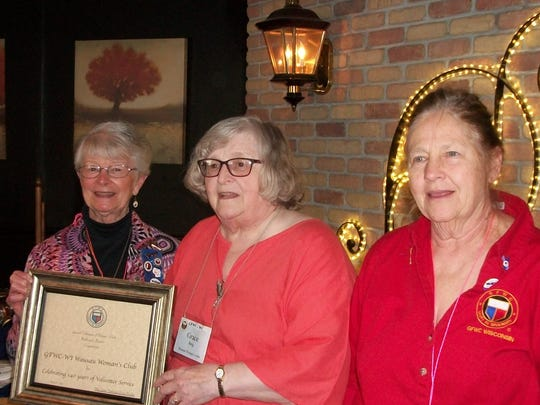 Pictured at the Wausau Women's Club's 140th Anniversary, when the Northwoods District President, Mary Fortier (at left), presented Grace Berg, Wausau Women's Club president (at center), a special certificate. Also pictured is Karen O'Strowski, district secretary (at right).
