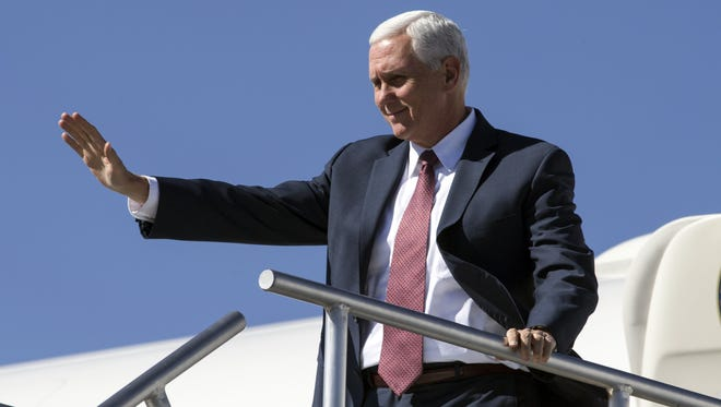 Pence at Phoenix airport in October.