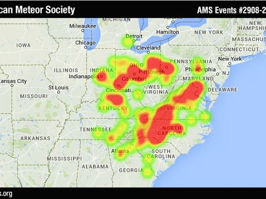 This is a heat map of reported fireball sightings in the United States Monday night.