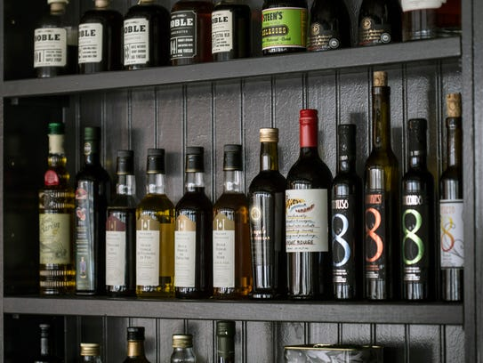 An impressive display of olive oils from around the