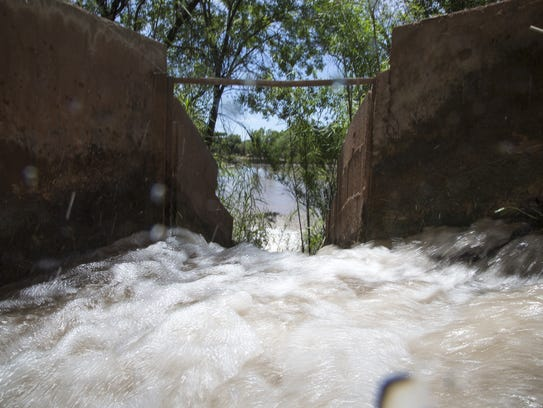 Eureka Ditch on the Verde River flows into a pond,