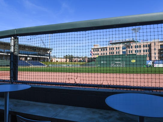 The Dew Dugout seating at Fluor Field.