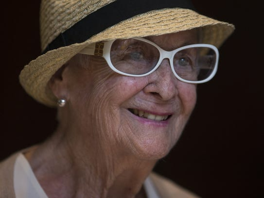 Helene Gay, 95, during the over 90's monthly luncheon