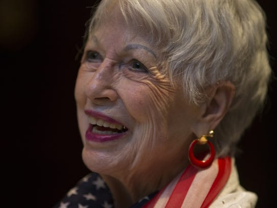 Phyllis Cox, 93, at the over 90's monthly luncheon