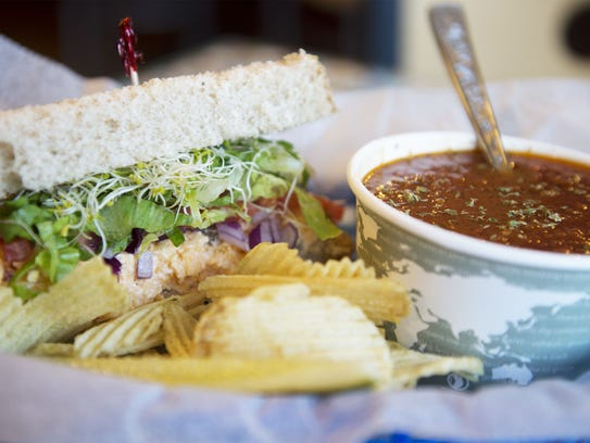 A pimento cheese sandwich with Farmhouse Tomato soup