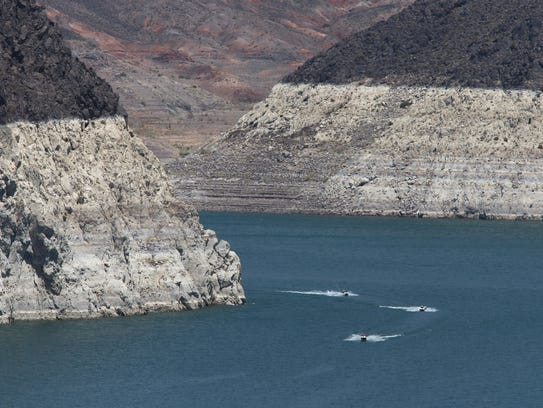 Water levels dropped significantly at Lake Mead during