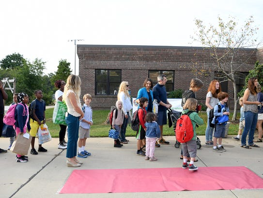 Students arrived for the first day back to school at