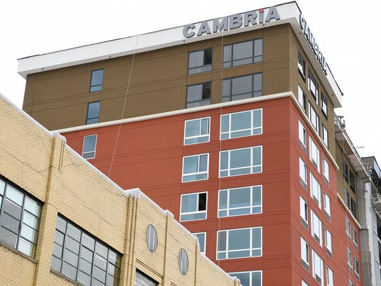 A view of the Cambria Hotel and Suites downtown on