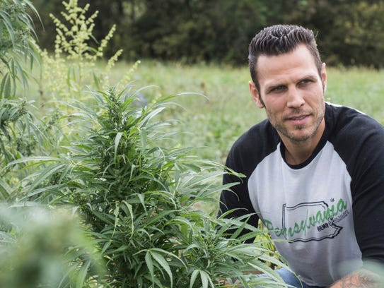 Former NHL player Riley Cote visits the Ananda Hemp farm in Eastern Kentucky as an advocate for medicinal hemp oil. Oct. 9, 2017