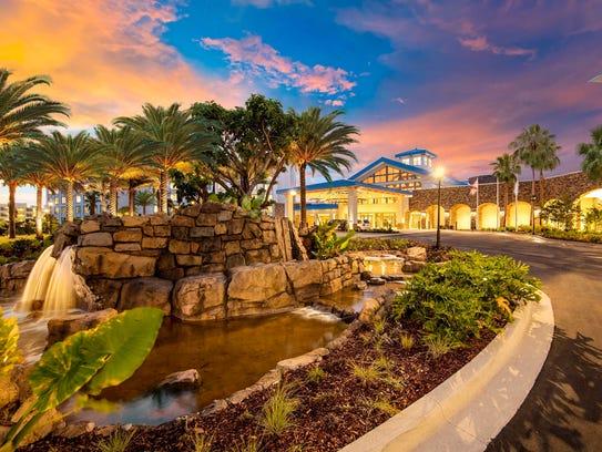 Entrance into Universal's newest resort, Loews Sapphire