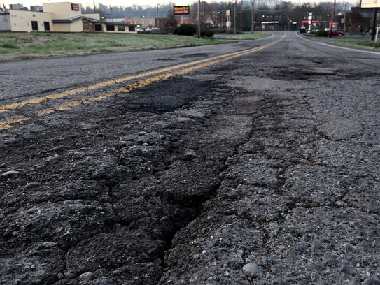 Sherlake Lane in West Knoxville between Kingston Pike and Parkside Drive is one of the roads the city is planning to pave this year.