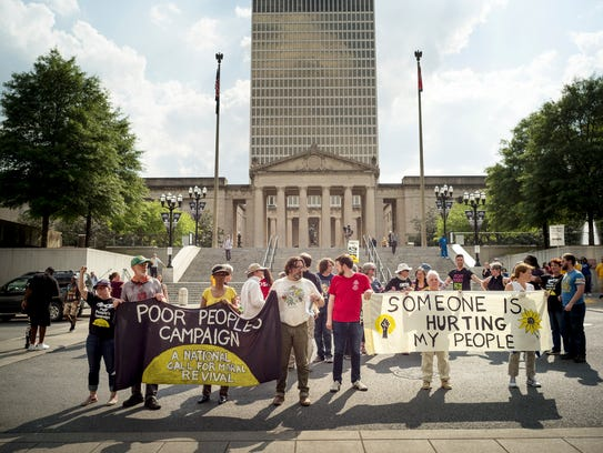 protesters with the Tennessee Poor People's Campaign