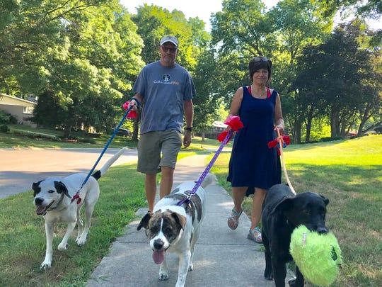 Andy and Cindy Lear walk their dogs as they look for discarded little bottles of liquor. They are mystified as to why they find so many in their Southern Hills neighborhood.