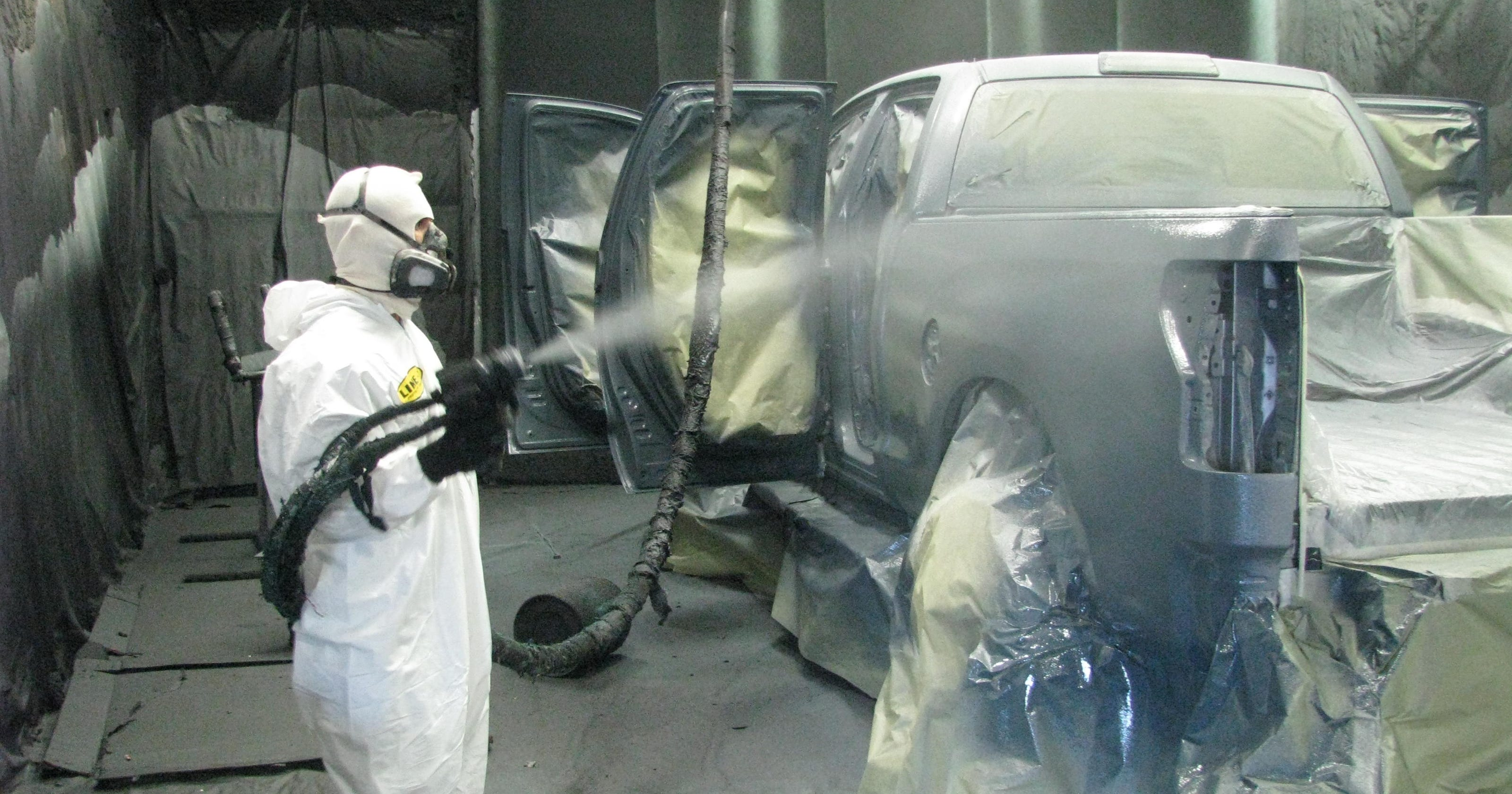 Spray In Bedliner Cost F150 >> Pickup owners spray the whole truck with bedliner plastic