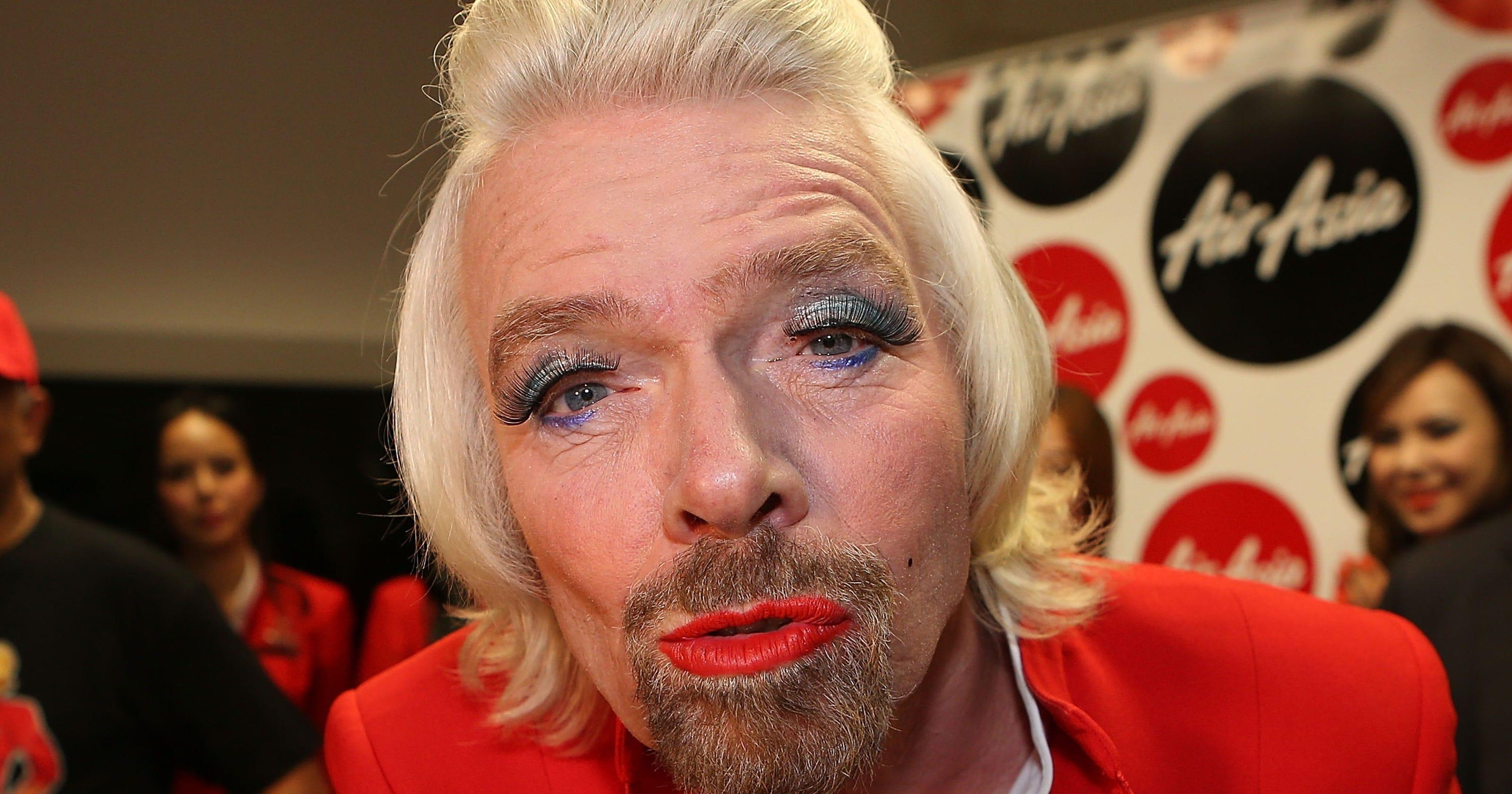 Virgin's Richard Branson loses bet, serves fliers in drag