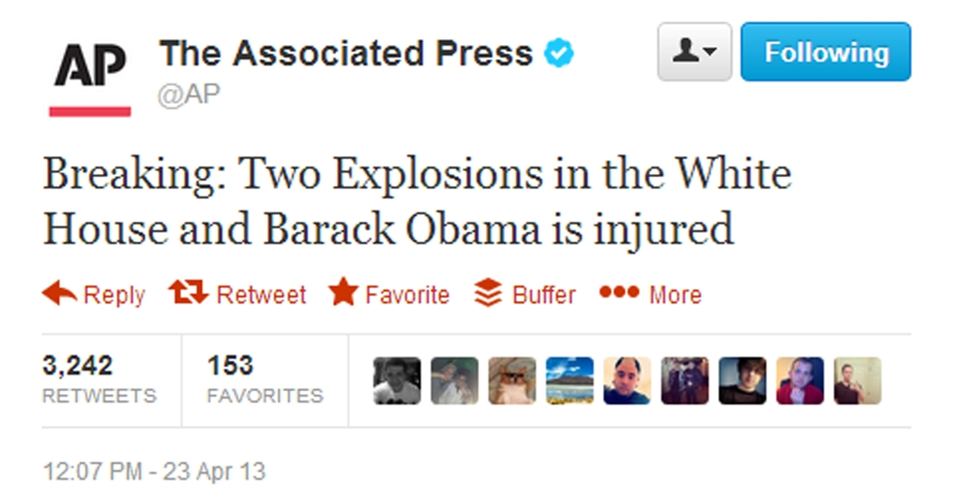 ap twitter feed hacked  no attack at white house