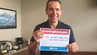 Internationally renowned artist and York native Jeff Koons shared his reasons for voting as part of the USA Today #votingbecause movement at a York Revolution game in August. The #votingbecause poster is available for purchase.