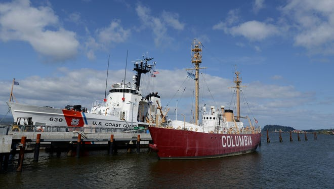 A U.S. Coast Guard boat is docked near the Coumbia River Maritime Museum on Wednesday, April 22, 2015, in Astoria.                                                      The Columbia River Maritime Museum features the Pacific Northwest's rich seafaring history. Wednesday, April 22, 2015, in Astoria.