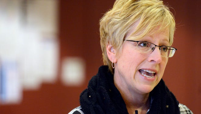 Jill Franken, Public Health Director for the City of Sioux Falls briefs the media Saturday about a case of measles diagnosed in Sioux Falls and a clinic offering free vaccines to anyone that needs it being held on Saturday, Jan 24, 2015.