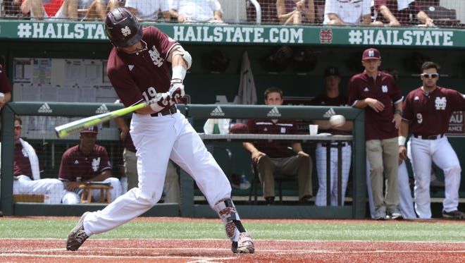 Mississippi State's Brent Rooker (19) hits a home run during the 3rd inning of the game with Southeast Missouri State University during the 1st round of the NCAA Starkville regional.