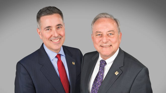 Current York Traditions Bank President Eugene Draganosky, left, will take over for retiring CEO and co-founder Michael Kochenour, right, in 2017.