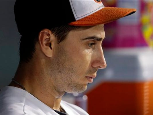 Baltimore starting pitcher Miguel Gonzalez sits in the dugout in the fifth inning against the Minnesota Twins on Thursday in Baltimore. Minnesota scored seven runs against Gonzalez before he was relieved in the sixth inning. The Orioles eventually lost the game, 15-2.