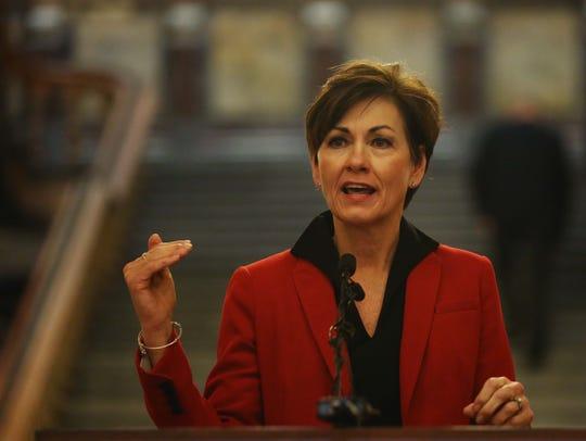 Lieutenant Governor Kim Reynolds speaks in the rotunda