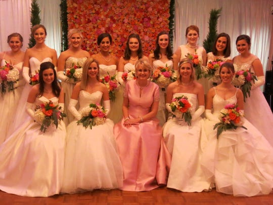 Amy Bicknell (in pink) and the 2016 Demoiselle Debutantes at the Presentation Balll.