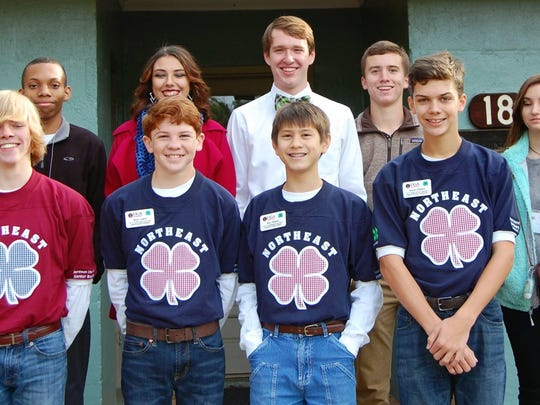 Teens in front row from left to right are Gabe Harrison, Sean Leard, Ben Tellano and Adam Walters; and in back row are Ryan Bryant, Savanna Hicks, Dalton Farrow, Luke Turpin and Kassidy McClain.
